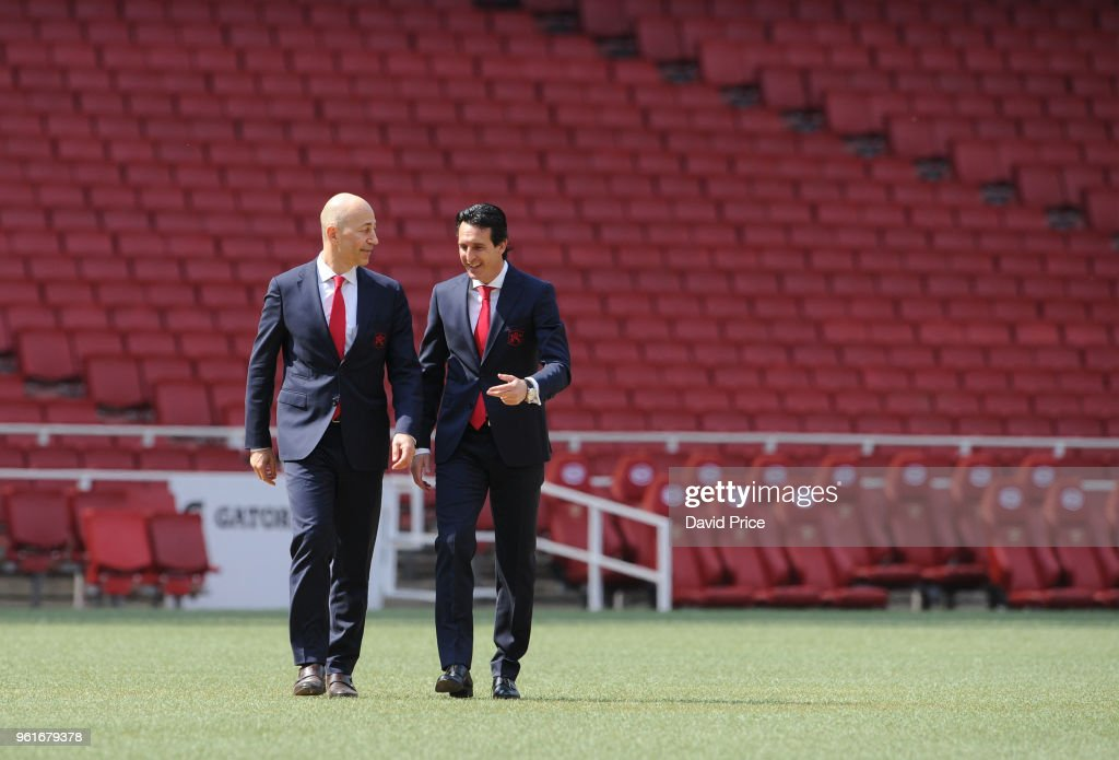 Arsenal Head Coach Unai Emery is shown around the stadium by Arsenal CEO Ivan Gazidis at Emirates Stadium on May 23, 2018 in London, England.