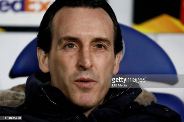 Arsenal head coach Unai Emery looks on during the UEFA Europa League Round of 32 First Leg match between BATE Borisov and Arsenal at BorisovArena on...