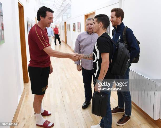 Arsenal Head Coach Unai Emery meets new signing Lucas Torreira at London Colney on July 10 2018 in St Albans England