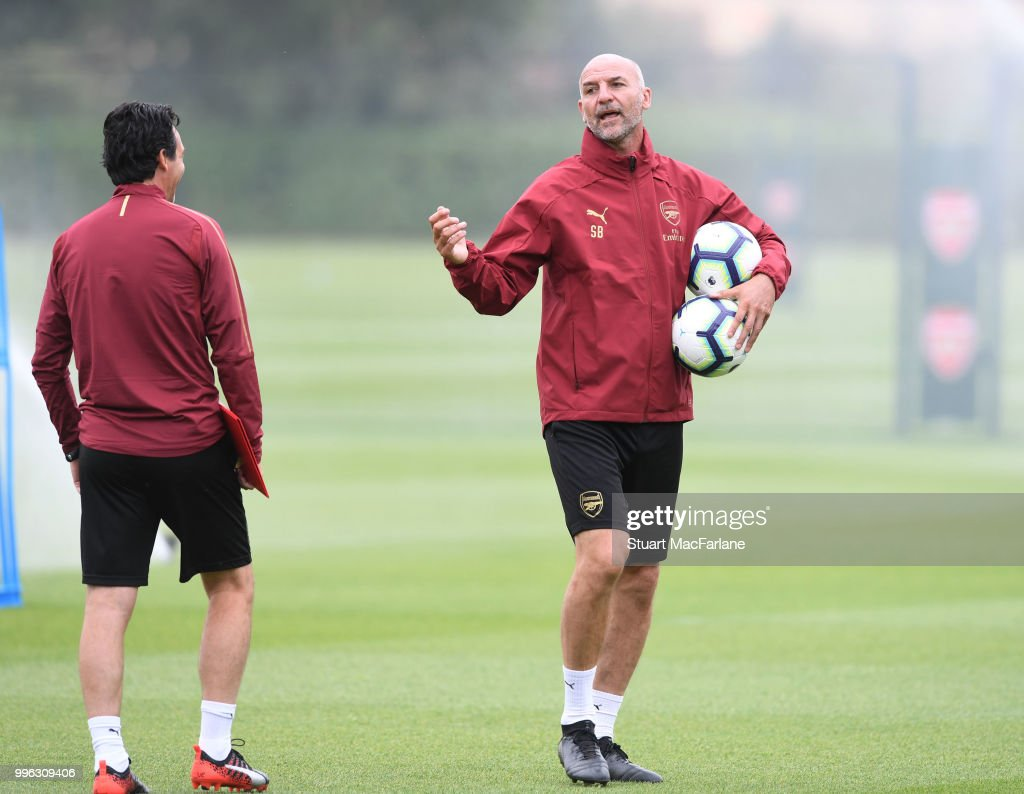 Arsenal Head Coach Unai Emery with assistant Stve Bould during a training session at London Colney on July 11, 2018 in St Albans, England.