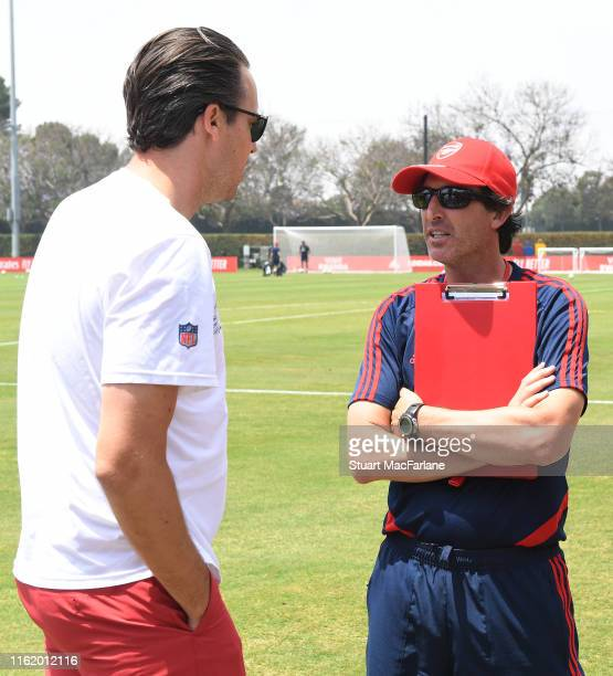 Arsenal Head Coach Unai Emery with Josh Kroenke from KSE after a training session at the Loyola Marymount University on July 14 2019 in Los Angeles...