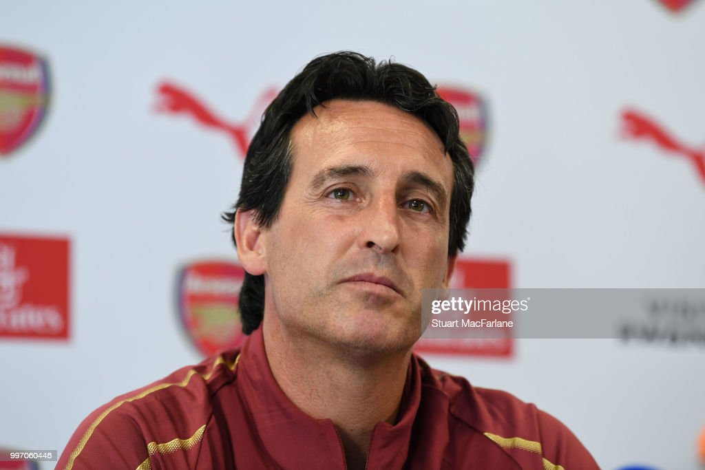 Arsenal Head Coach Unia Emery attends a press conference at London Colney on July 12, 2018 in St Albans, England.