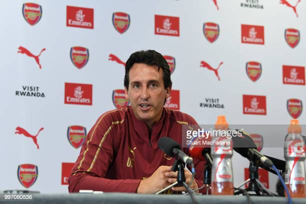 Arsenal Head Coach Unia Emery attends a press conference at London Colney on July 12 2018 in St Albans England