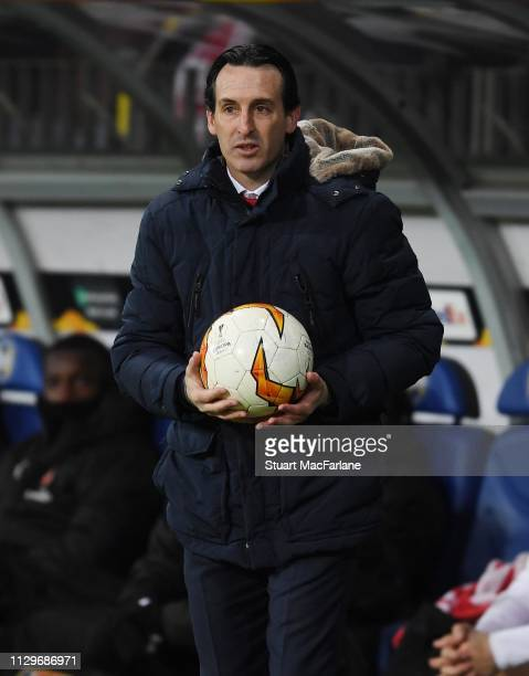 Arsenal Head Cosch Unai Emery during the UEFA Europa League Round of 32 First Leg match between BATE Borisov and Arsenal at on February 14 2019 in...