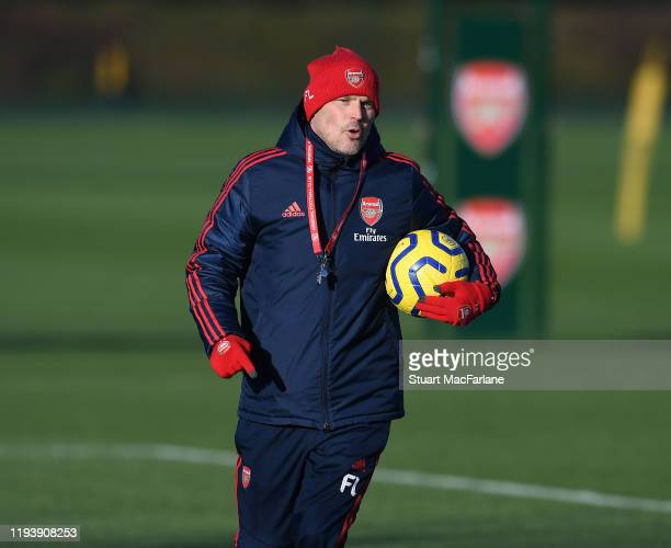 Arsenal Head Interim Head Coach Freddie Ljungberg during a training session at London Colney on December 14 2019 in St Albans England