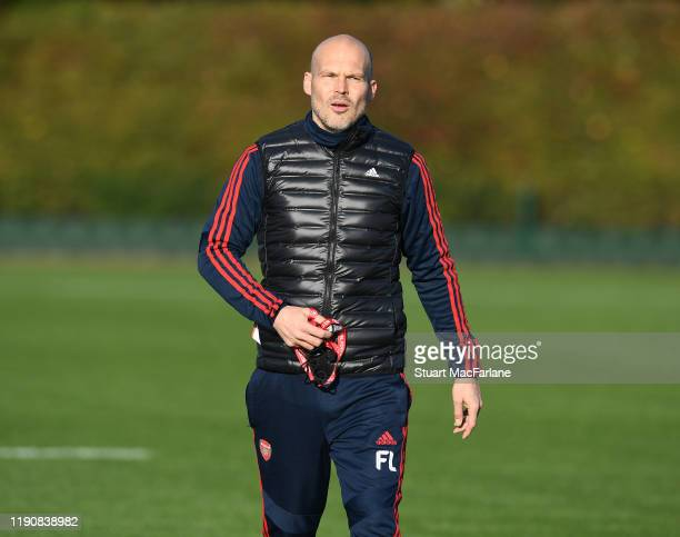 Arsenal Interim Head Coach Freddie Ljungberg during a training session at London Colney on November 29 2019 in St Albans England