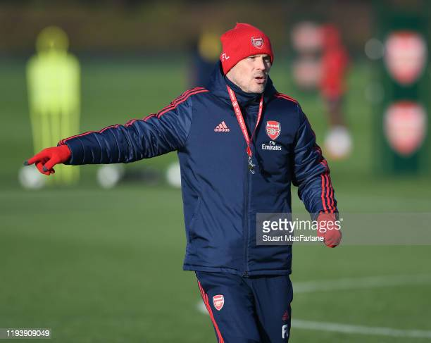 Arsenal Interim Head Coach Freddie Ljungberg during a training session at London Colney on December 14 2019 in St Albans England