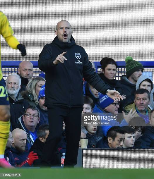 Arsenal Interim Head Coach Freddie Ljungberg during the Premier League match between Everton FC and Arsenal FC at Goodison Park on December 21 2019...
