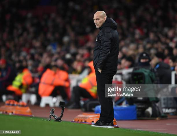 Arsenal Interim Head Coach Freddie Ljungberg the Premier League match between Arsenal FC and Manchester City at Emirates Stadium on December 15 2019...
