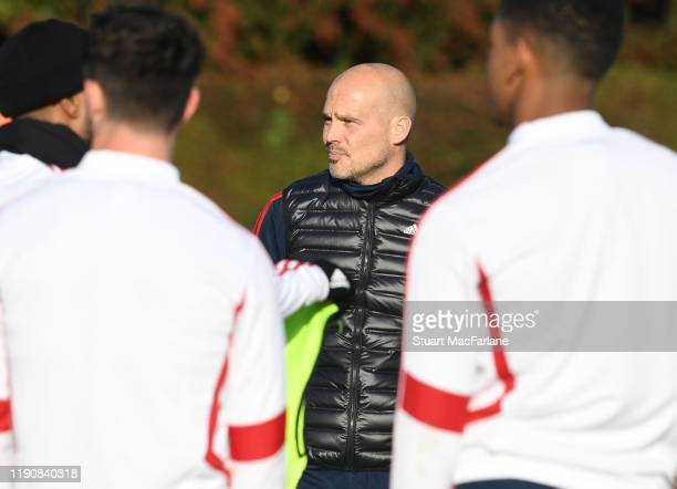 Arsenal Interim Head Coach Freddie Ljungberg with Reiss Nelson during a training session at London Colney on November 29 2019 in St Albans England