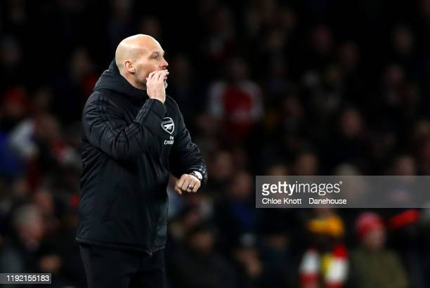 Arsenal interim Manage Freddie Ljungberg during the Premier League match between Arsenal FC and Brighton & Hove Albion at Emirates Stadium on...