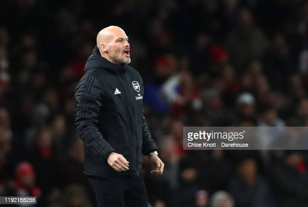 Arsenal interim Manage Freddie Ljungberg during the Premier League match between Arsenal FC and Brighton Hove Albion at Emirates Stadium on December...