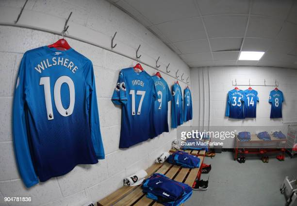 Arsenal kit hangs in the away changing room before the Premier League match between AFC Bournemouth and Arsenal at Vitality Stadium on January 14...
