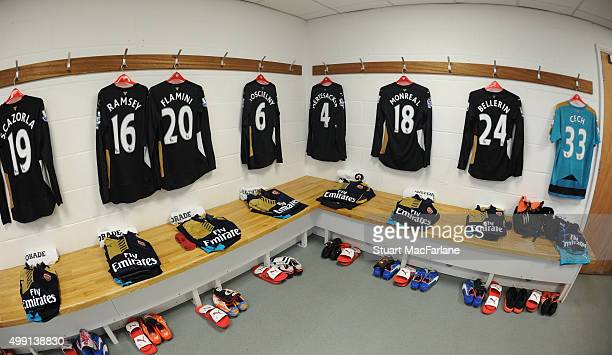 Arsenal kit in the away changing room before the Barclays Premier League match between Norwich City and Arsenal at Carrow Road on November 29 2015 in...