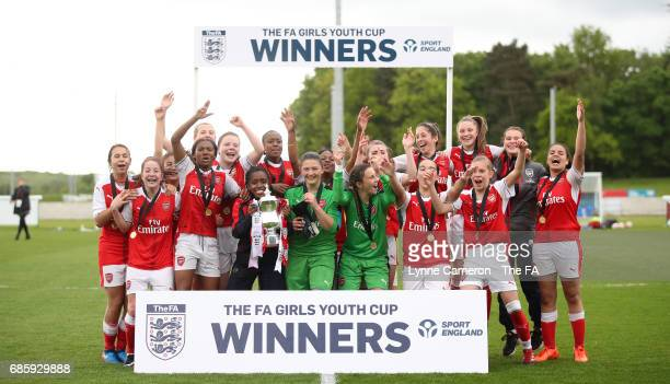 Arsenal Ladies celebrate after winning the FA Girls' Youth Cup Final between Millwall Lionesses U16 Vs. Arsenal Ladies U16 at St Georges Park on May...