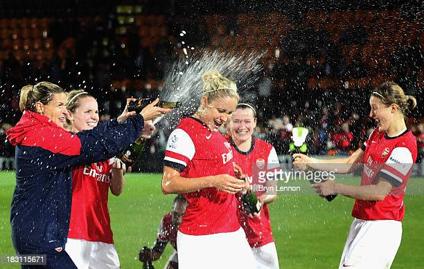 Arsenal Ladies coach Kelly Smith celebrates with Captain Steph Houghton and Ellen White after winning the FA WSL Continental Cup Final between...
