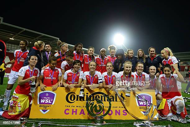 Arsenal Ladies FC celebrate defeating Notss County Ladies FC 30 to win the WSL Continental Cup Final between Arsenal Ladies FC and Notts County...