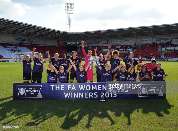 Arsenal Ladies FC players celebrate with the trophy after winning The FA Women's Cup Final match between Bristol Academy Women's FC and Arsenal...
