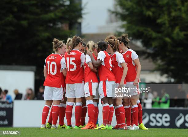 Arsenal Ladies huddle before the 2nd half of the match between Arsenal Ladies and Tottenham Hotspur Ladies on March 19 2017 in Borehamwood England