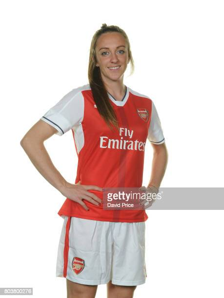 Arsenal Ladies latest signing Lisa Evans poses during a photocall at London Colney on May 16 2017 in St Albans England