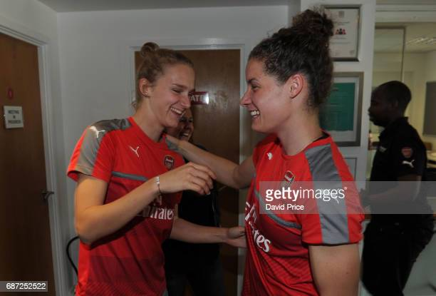 Arsenal Ladies latest signing Vivianne Miedema chats meets international team mate Dominique Janssen of Arsenal Ladies at London Colney on May 23...