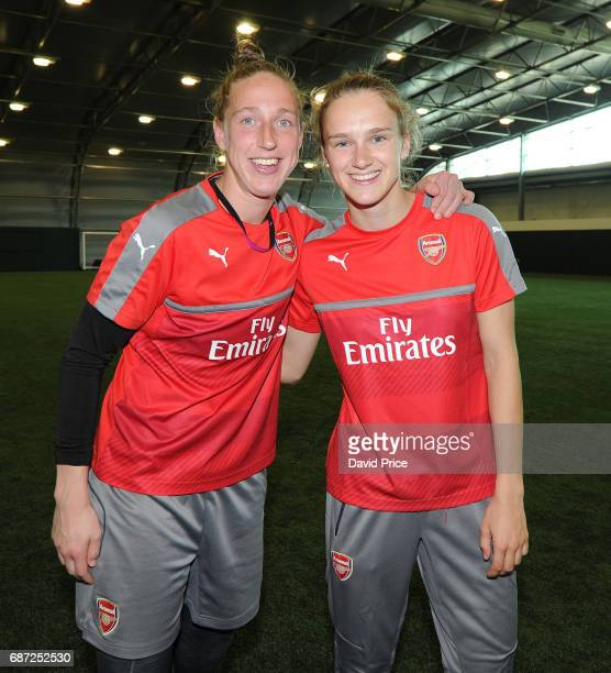 Arsenal Ladies latest signing Vivianne Miedema chats with international team mate Sari van Vennendaal of Arsenal Ladies at London Colney on May 23...