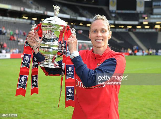 Arsenal Ladies manager Shelley Kerr celebrates after the match at Stadium mk on June 1 2014 in Milton Keynes England
