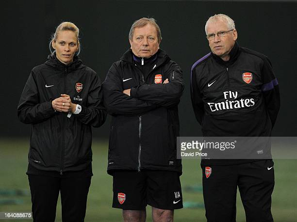 Arsenal Ladies Manager Shelley Kerr chats to General Manager Vic Akers and her Assistant Manager John Bayer during an Arsenal Ladies Training Session...