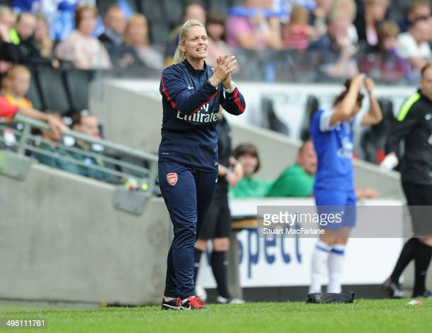 Arsenal Ladies manager Shelley Kerr during the match at Stadium mk on June 1 2014 in Milton Keynes England
