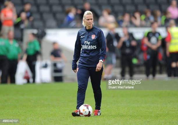 Arsenal Ladies manager Shelley Kerr during the warm up before the match at Stadium mk on June 1 2014 in Milton Keynes England