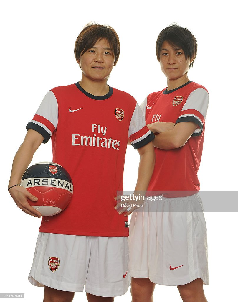 (MINIMUM PRINT/BROADCAST FEE OF 18000 YEN, ONLINE FEE OF 12500 YEN PER IMAGE) Arsenal Ladies new signings Shinobu Ohno and Yukari Kinga at Arsenal Training Ground at London Colney on February 25, 2014 in St Albans, England.