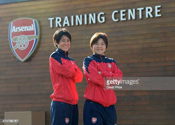 Arsenal Ladies new signings Yukari Kinga and Shinobu Ohno at Arsenal Training Ground at London Colney on February 25 2014 in St Albans England