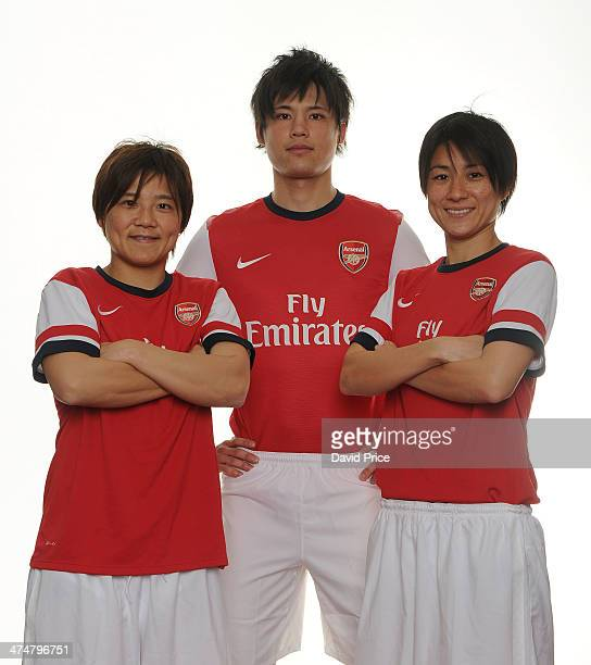 Arsenal Ladies new signings Yukari Kinga and Shinobu Ohno with Ryo Miyaichi at Arsenal Training Ground at London Colney on February 25, 2014 in St...