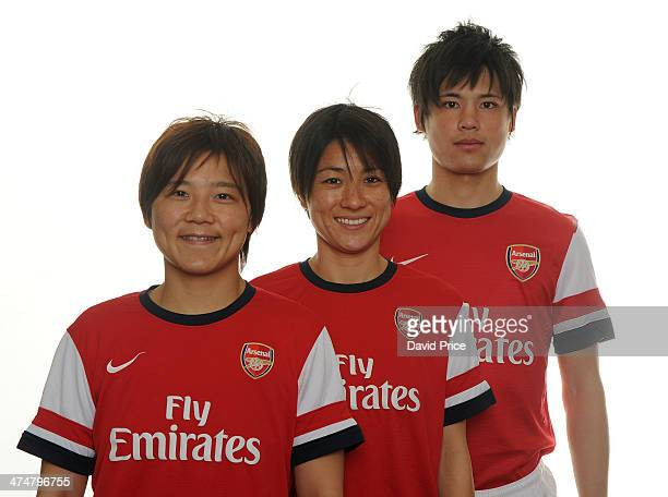 Arsenal Ladies new signings Yukari Kinga and Shinobu Ohno with Ryo Miyaichi at Arsenal Training Ground at London Colney on February 25 2014 in St...