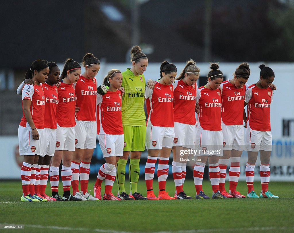 Arsenal Ladies observe a minutes silence for the victims of the Hillsborough disaster before the WSL match between Arsenal Ladies and Bristol Academy at Meadow Park on April 15, 2015 in Borehamwood, England.