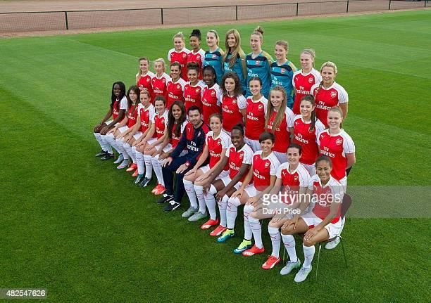 Arsenal Ladies Team Group. Back row Charlotte Devlin, Chiara Ritchie-Williams, Sian Rogers, Emma Byrne, Sari Van Veenendaal, Hollie Augustus, Rianna...