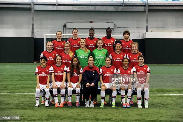 Arsenal Ladies Team Group. Back row Christie Murray, Emma Mitchell, Danielle Carter, Freda Ayisi, Shinobu Ohno. Middle row Caroline Weir, Anouk...