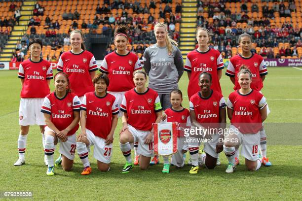 Arsenal Ladies Top Row Yukari Kinga Caroline Weir Jade Bailey Goalkeeper Emma Byrne Casey Stoney and Rachel Yankey Bottom Row Alex Scott Shinobu Ohno...