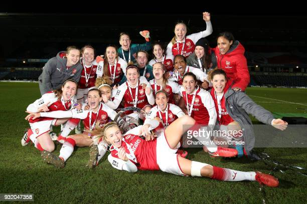 Arsenal Ladies v Manchester City Women Arsenal Women celebrates with the trophy during the WSL Continental Cup Final between Arsenal Women and...