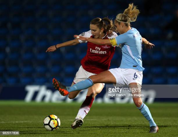 Arsenal Ladies' Vivianne Miedema and Manchester City Women's Steph Houghton battle for the ball during the Continental Tyres Cup Final at Adams Park...