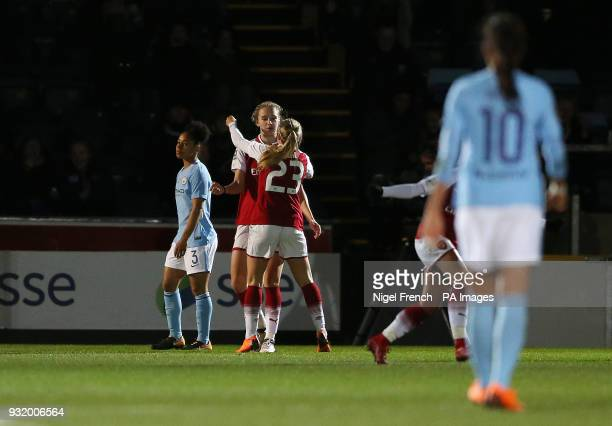 Arsenal Ladies' Vivianne Miedema celebrates scoring her side's first goal of the game during the Continental Tyres Cup Final at Adams Park Wycombe