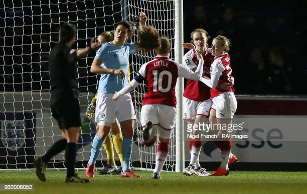 Arsenal Ladies' Vivianne Miedema celebrates scoring his side's first goal of the game during the Continental Tyres Cup Final at Adams Park Wycombe