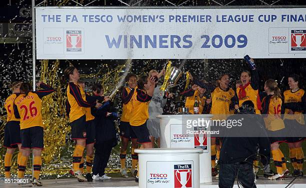 Arsenal LFC with the winners trophy after the FA Women's Premier League Cup Final between Arsenal and Doncaster Rovers Belles at Scunthorpe on...