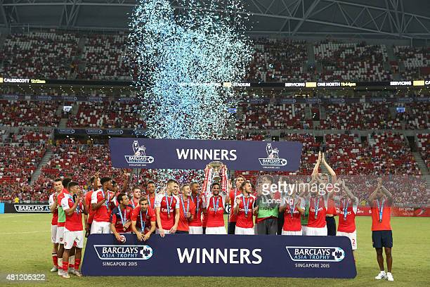 Arsenal life the Barclays Asia Trophy after the Barclays Asia Trophy match between Arsenal and Everton at the National Stadium on July 18 2015 in...