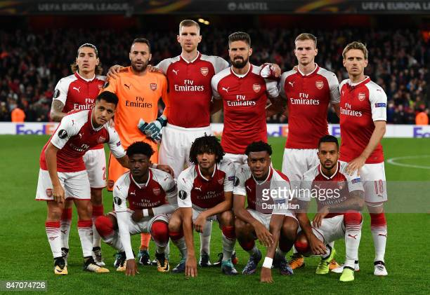 Arsenal line up for the UEFA Europa League group H match between Arsenal FC and 1 FC Koeln at Emirates Stadium on September 14 2017 in London United...