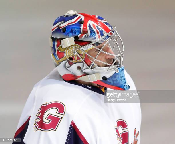 Arsenal logo on the side of Petr Cech's helmet during the match between Guildford Phoenix and Swindon Wildcats on October 13, 2019 in Guildford,...