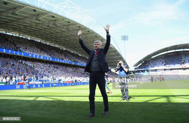 Arsenal manager Arsene Wenger acknowledges the Arsenal fans before the Premier League match between Huddersfield Town and Arsenal at John Smith's...