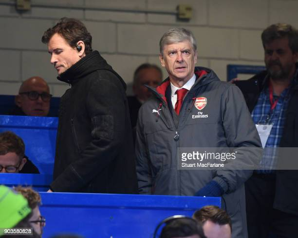 Arsenal manager Arsene Wenger and 1st team coach Jen Lehmann in the press box before the Carabao Cup SemiFinal First Leg match between Chelsea and...