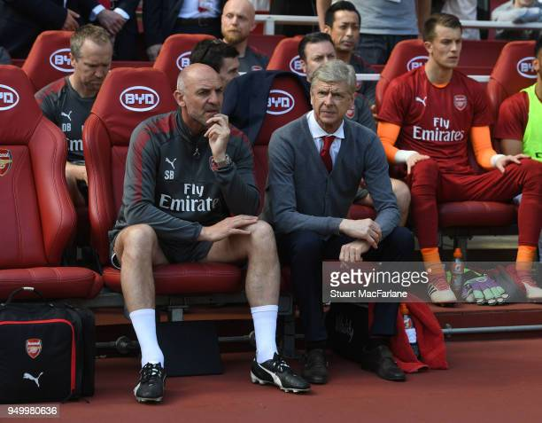 Arsenal manager Arsene Wenger and 1st team coach Steve Bould before the Premier League match between Arsenal and West Ham United at Emirates Stadium...