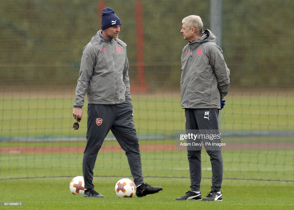 Arsenal manager Arsene Wenger (right) and Arsenal Assistant Manager Steve Bould during the training session at London Colney, Hertfordshire.